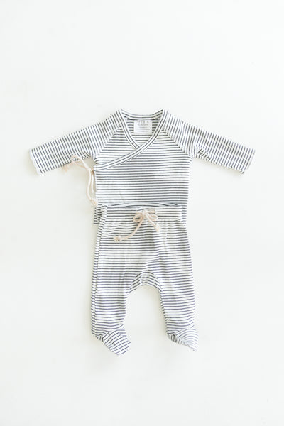 Mebie Baby Black + White Striped Ribbed Cotton Layette Set
