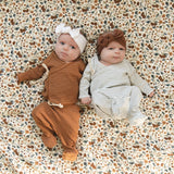 Mebie Baby Mebie Baby Rust + White Striped Ribbed Cotton Layette Set