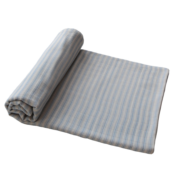 Mushie Muslin Swaddle Blanket Organic Cotton in Blue Stripe