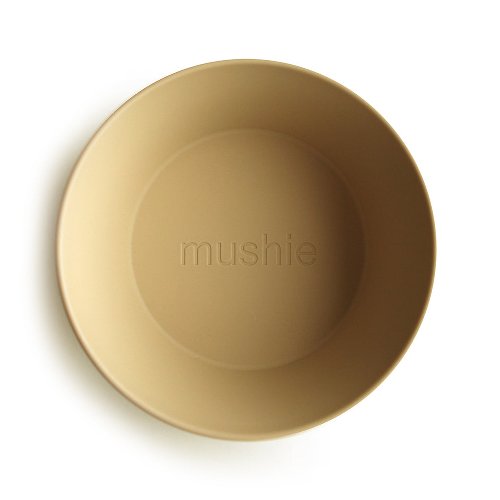 Mushie Mushie Round Dinnerware Bowl in Mustard, Set of 2