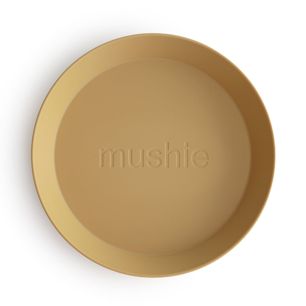 Mushie Mushie Round Dinnerware Plates in Mustard, Set of 2