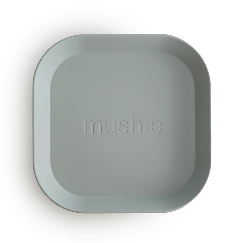 Mushie Mushie Square Dinnerware Plate In Sage - Set of 2