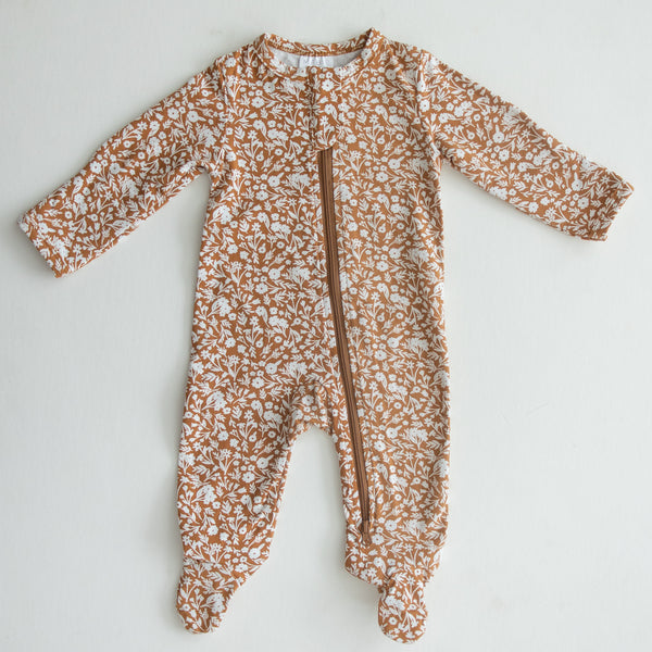 Mebie Baby Mustard Floral Cotton Footed Zipper One-piece