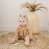 Mebie Baby Mebie Baby Mustard Floral Cotton Footed Zipper One-piece