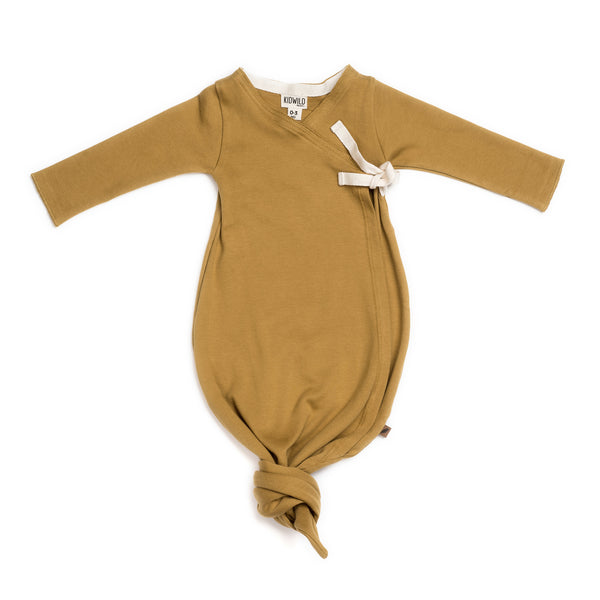 Organic Baby Kimono Gown in ochre | Sugarloaf
