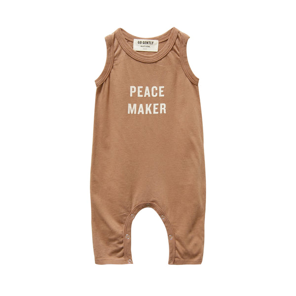 Go Gently Nation Peacemaker Baby Romper in tanin