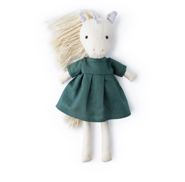 Hazel Village Peaseblossom Unicorn in River Green Linen Dress