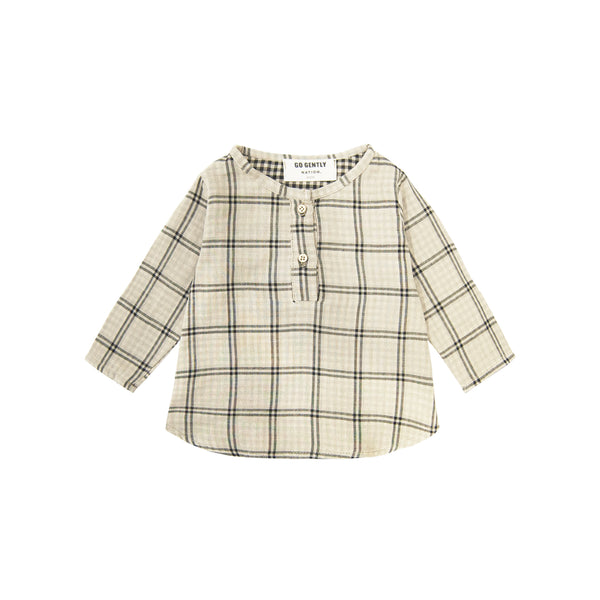 Go Gently Nation Placket Top in Tan Plaid