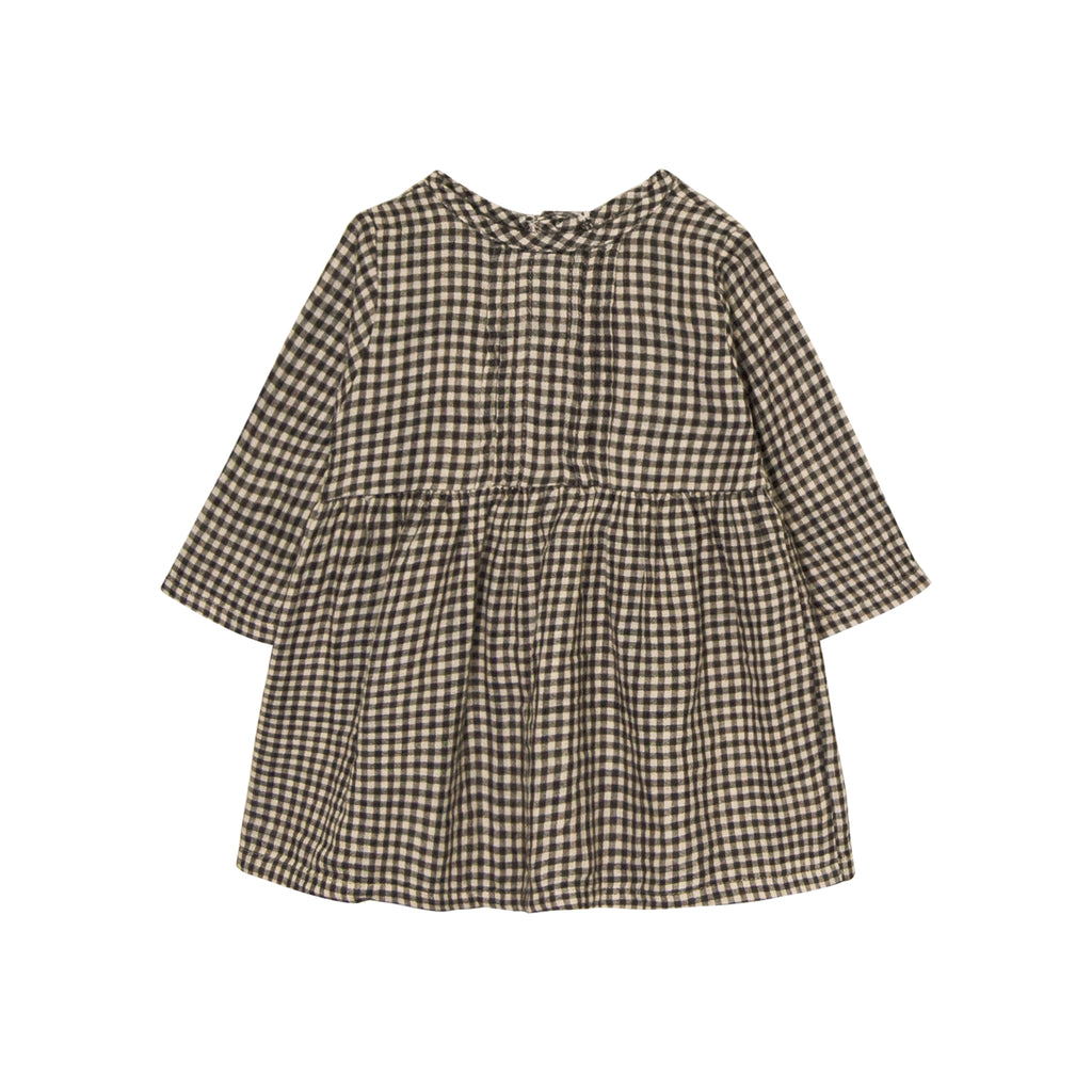 GO GENTLY NATION Go Gently Nation Pleated Prairie Dress in Tan Black Gingham Front