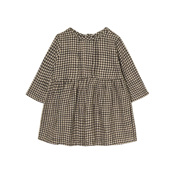 Go Gently Nation Pleated Prairie Dress in Tan Black Gingham Front
