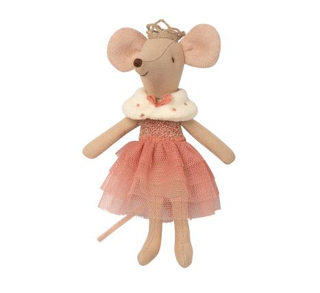Maileg Princess Mouse - Big Sister in a rose-colored dress with a faux fur spotted capelet and a gold crown atop her head.