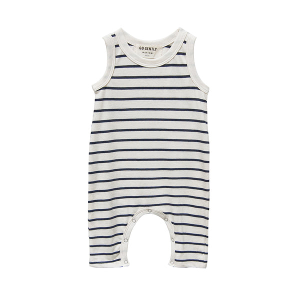 Go Gently Nation Jersey Baby Romper in navy and natural stripe