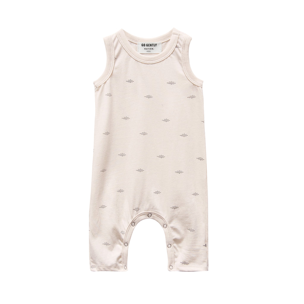 GO GENTLY NATION Go Gently Nation Jersey Baby Romper in pink tint dot