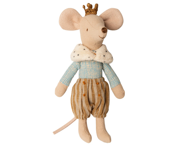 Maileg Prince Mouse - Big Brother with A faux fur dotted capelet, brown spotted trousers, and a golden crown atop his head.