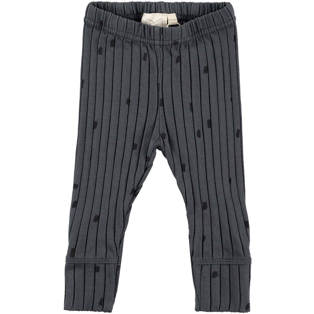 Mini Sibling by Beau Loves MINI SIBLING CHARCOAL RIB BABY PANTS WITH CONFETTI