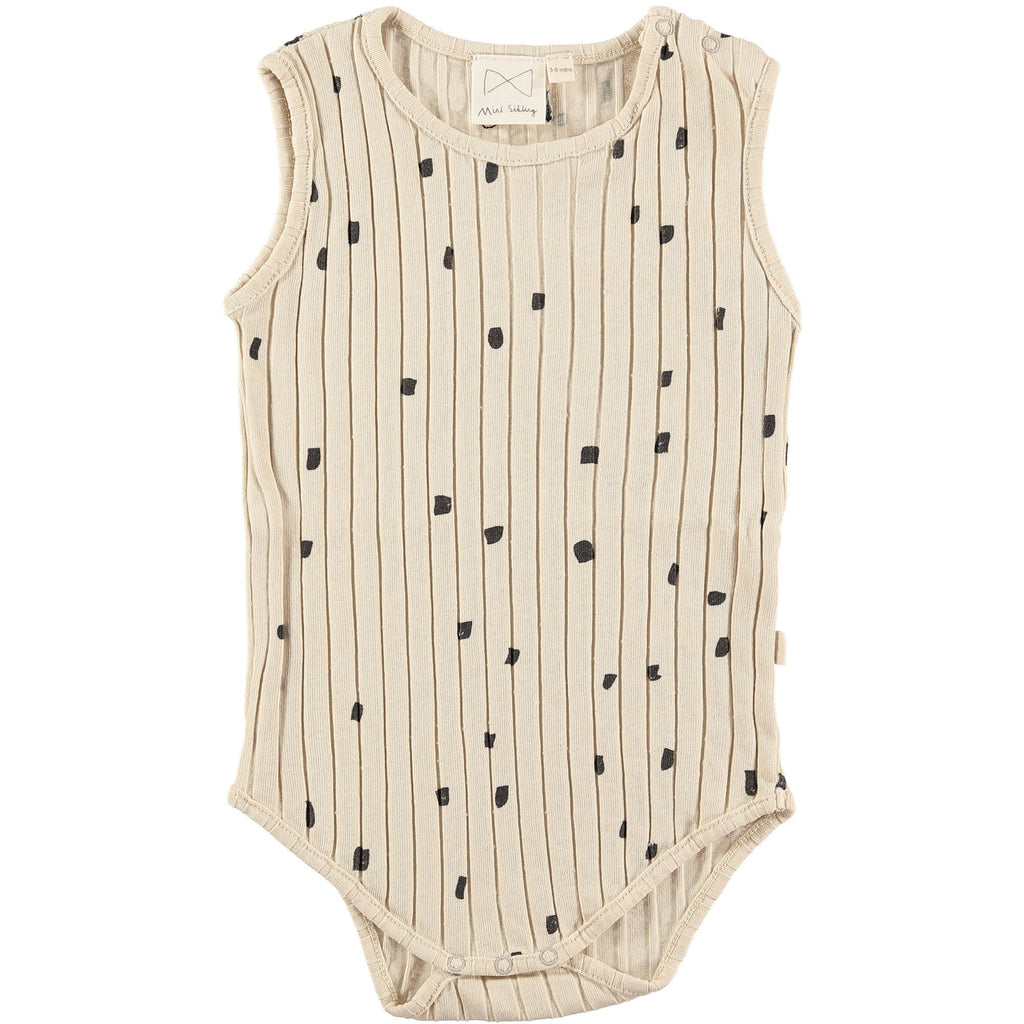 Mini Sibling by Beau Loves MINI SIBLING OATMEAL RIBBED BABY ONESIE WITH CONFETTI