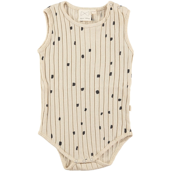 MINI SIBLING OATMEAL RIBBED BABY ONESIE WITH CONFETTI