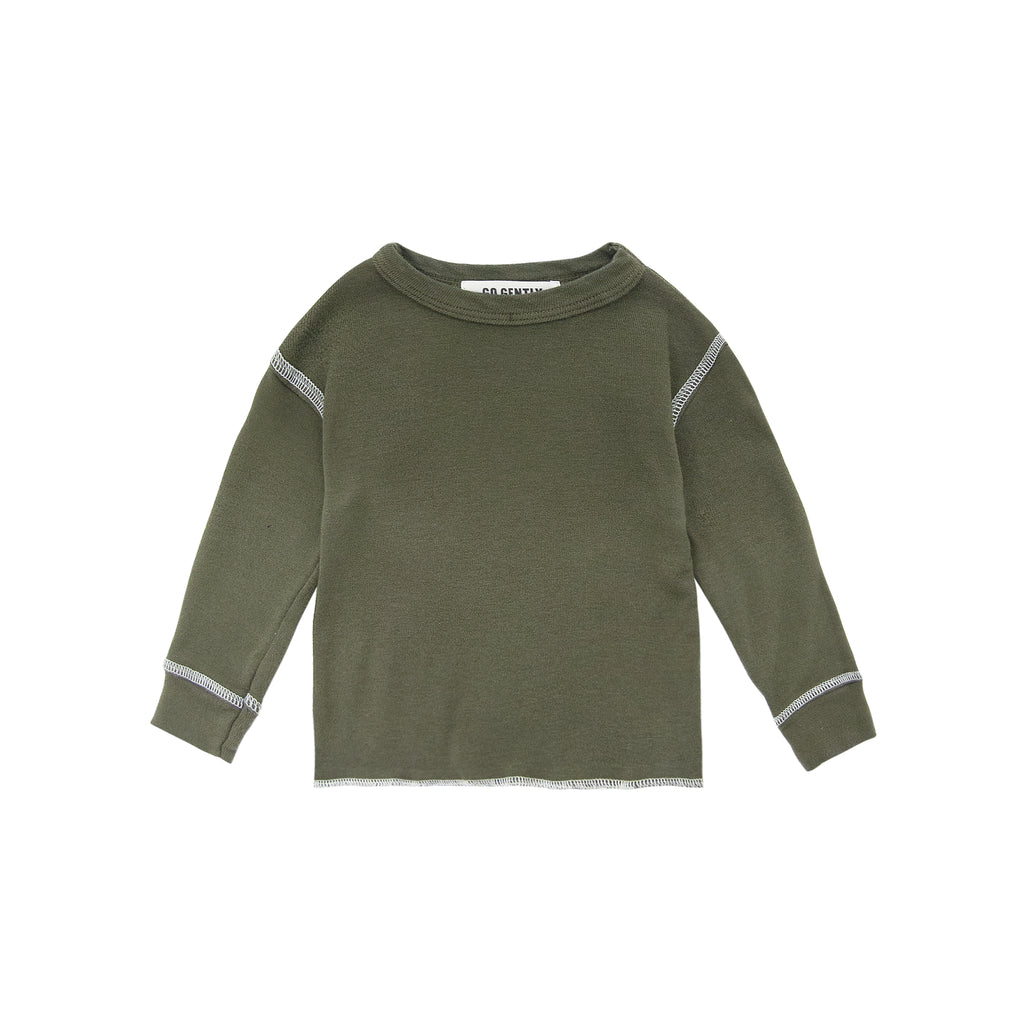 GO GENTLY NATION Rib Thermal Shirt in Moss