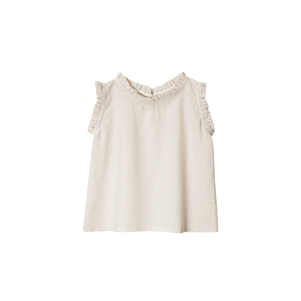 Go Gently Nation Ruffle Neck Baby Tank Top in natural