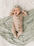 Mebie Baby Mebie Baby Sage Stretch Swaddle on Baby