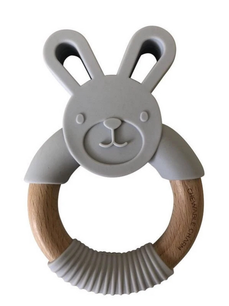 Chewable Charm Bunny Silicone + Wood Teether in Light Grey