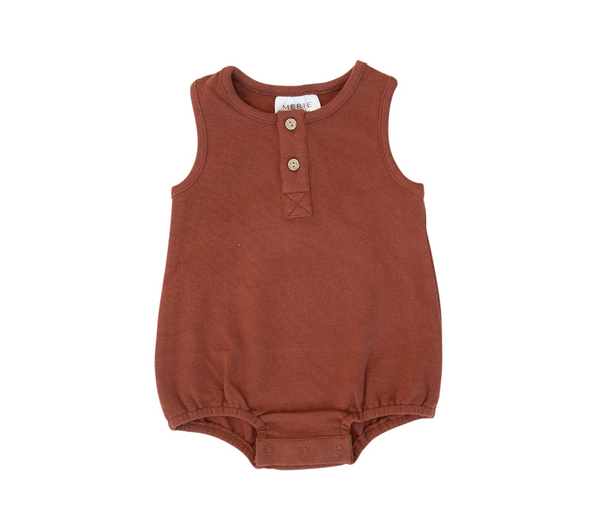 Mebie Baby Brick Button Bubble Romper