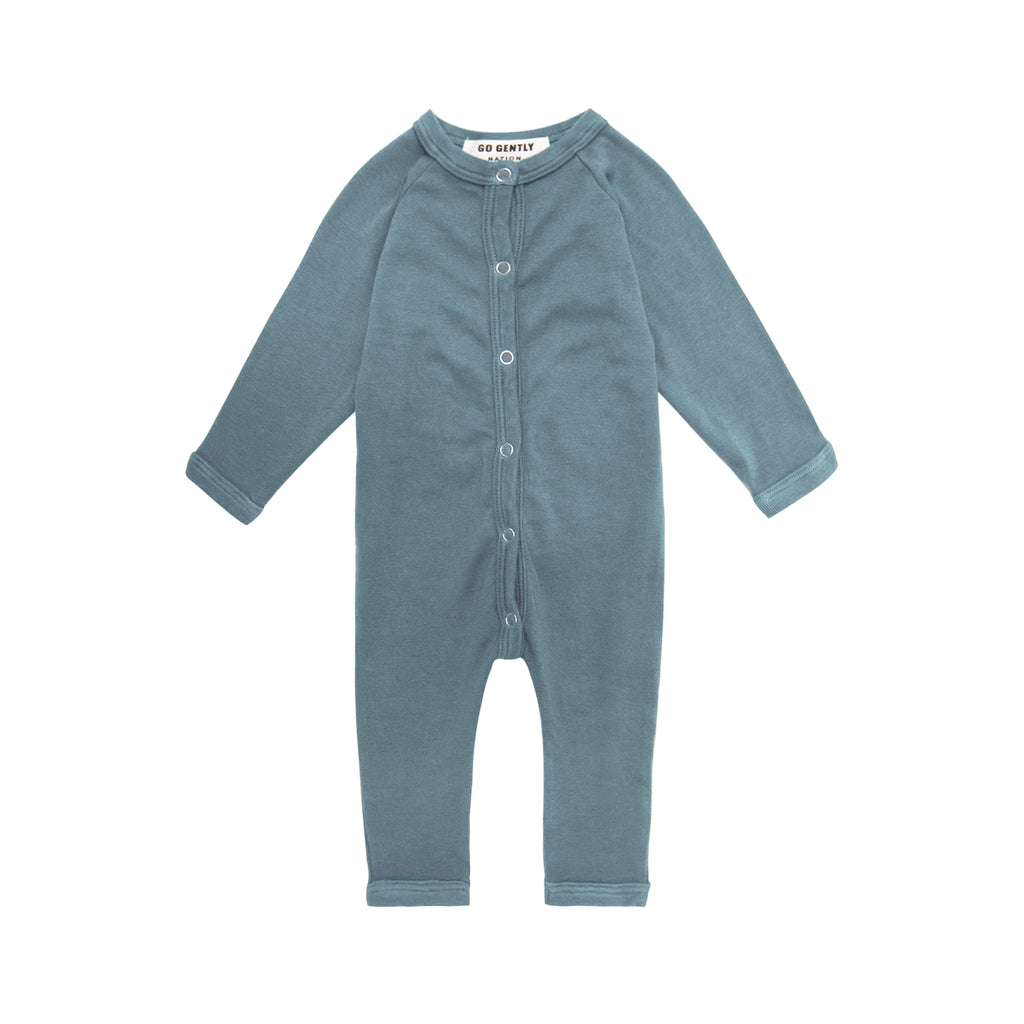 GO GENTLY NATION Go Gently Nation Organic Solid Romper in Rain
