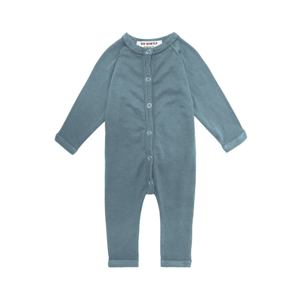 Go Gently Nation Organic Solid Romper in Rain