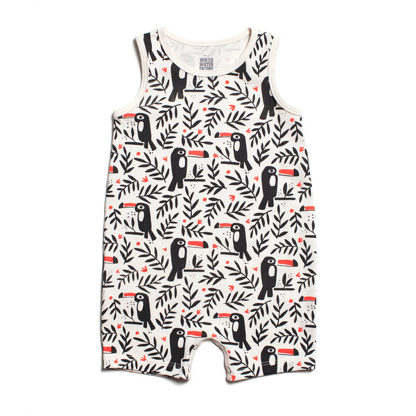 TANK-TOP ROMPER - TOUCANS BLACK