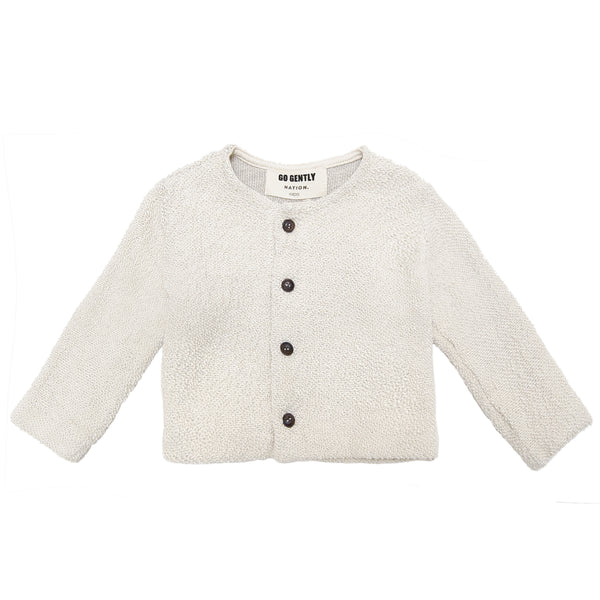 Go Gently Nation Textured Knit Coat in Natural - flat