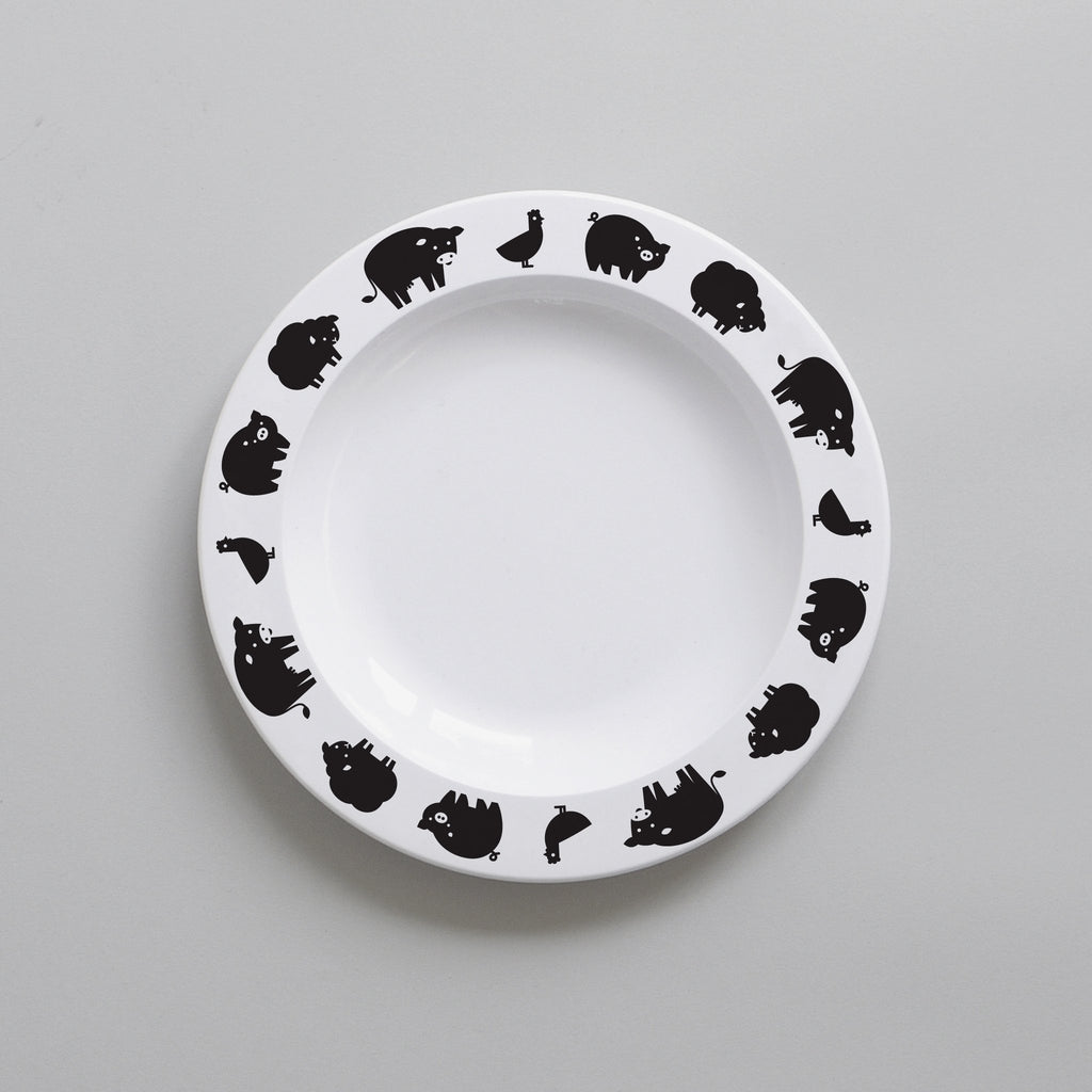BUDDY AND BEAR BLACK FARM ANIMAL PLATE - sugarloaf