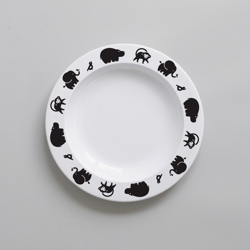 Buddy and Bear BLACK WILD ANIMAL BABY PLATE