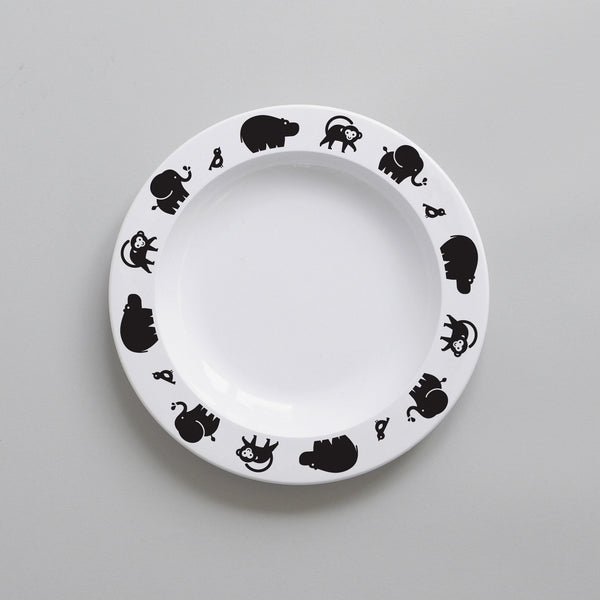 BLACK WILD ANIMAL BABY PLATE