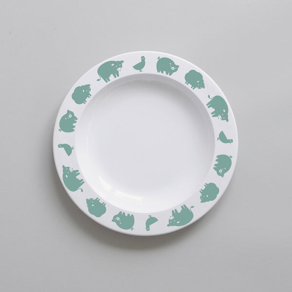 GREEN FARM ANIMAL PLATE