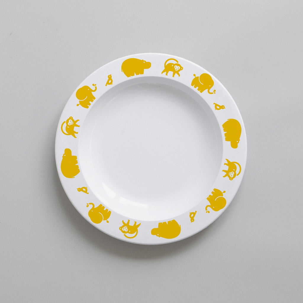 Buddy and Bear YELLOW WILD ANIMAL PLATE