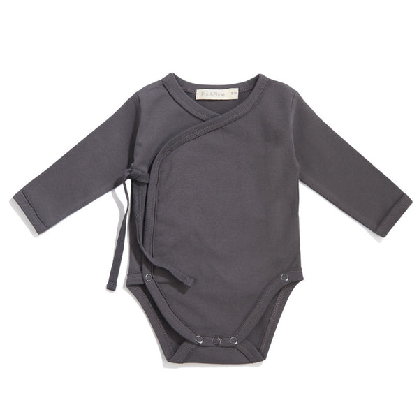 PHIL&PHAE LONG SLEEVE CROSSOVER BABY BODYSUIT - sugarloaf