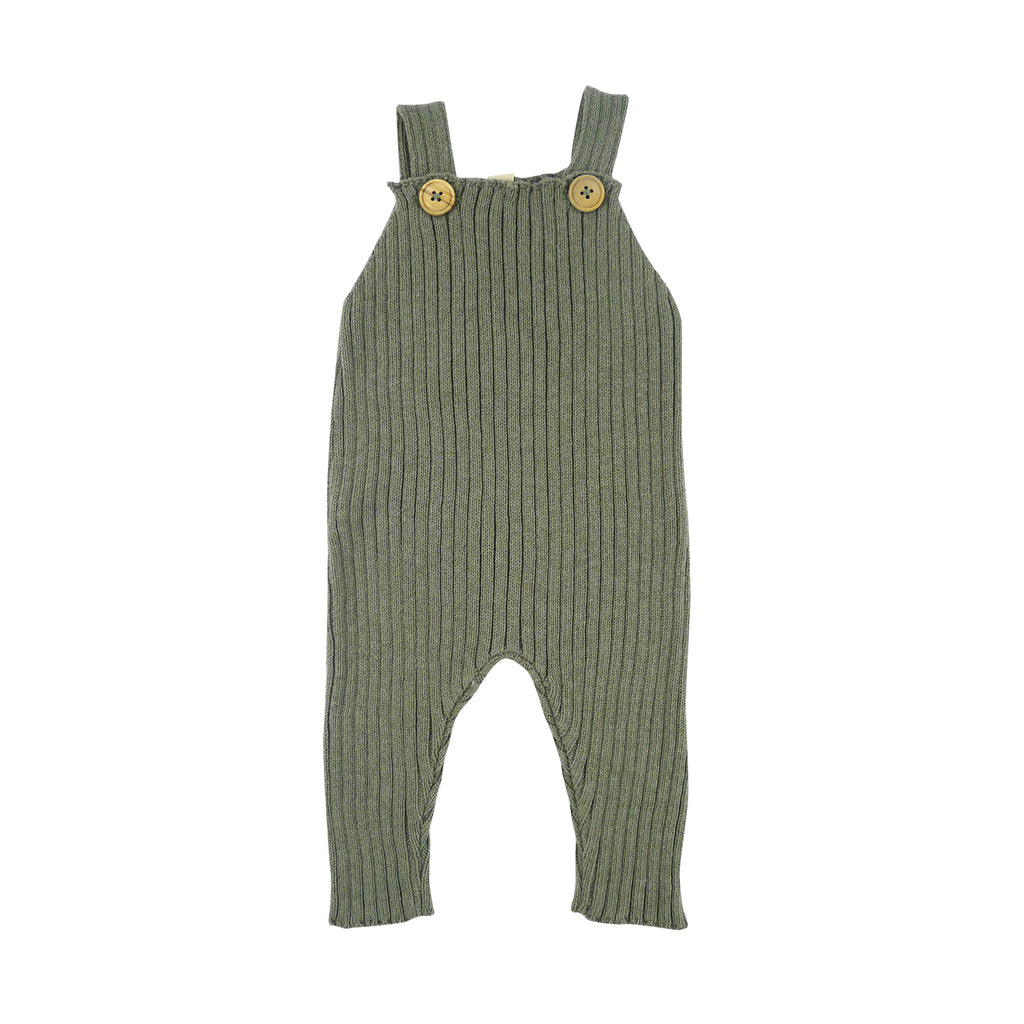 Bayiri Bayiri Sloth Ribbed Baby Dungaree in Gray