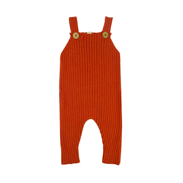 Bayiri Sloth Ribbed Baby Dungaree in Red