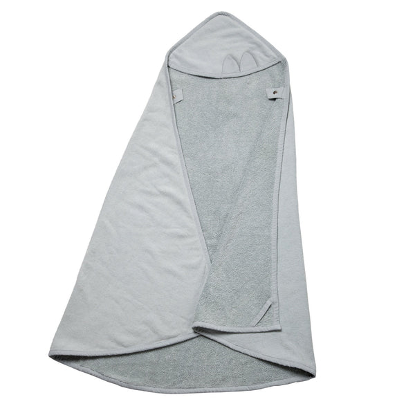HOODED TOWEL CAPE CAT IN ICEY GREY - sugarloaf