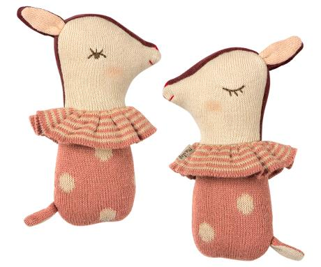 Maileg Bambi Rattle in Rose
