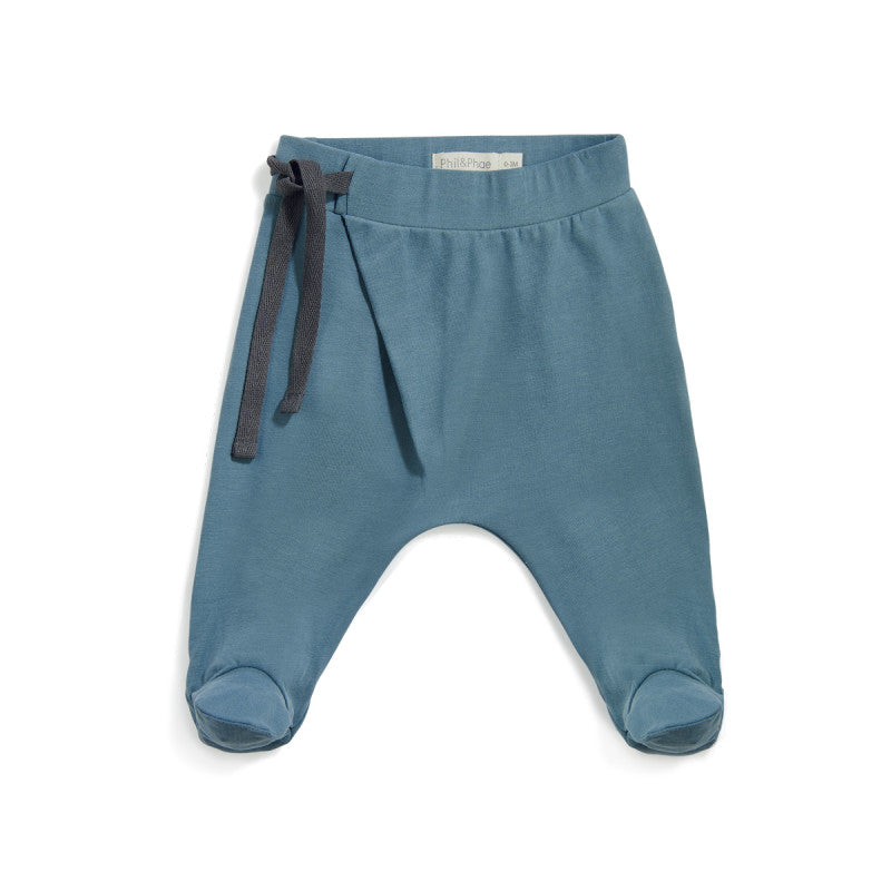 PHIL&PHAE HAREM FOOTIE BABY PANTS IN BALSAM BLUE - sugarloaf