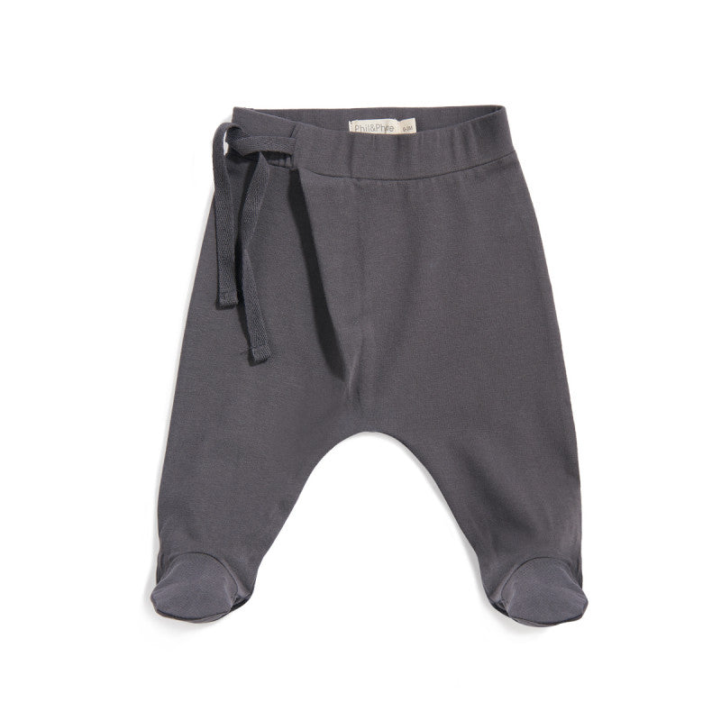 PHIL&PHAE HAREM FOOTIE BABY PANTS IN GRAPHITE - sugarloaf