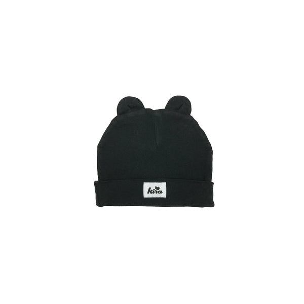 ORGANIC COTTON BABY BEANIE WITH EARS IN BLACK FRONT