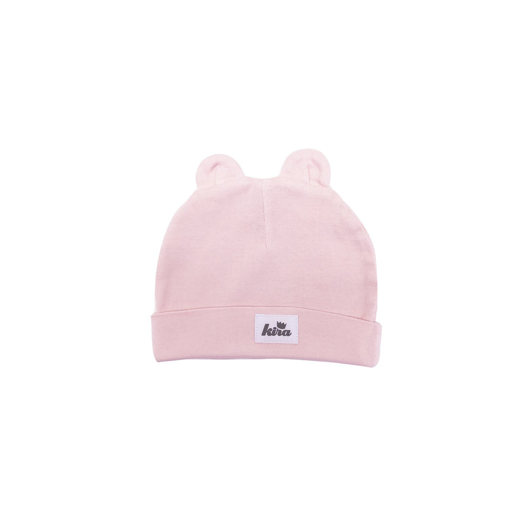Kira Kids BABY HAT WITH EARS IN LIGHT PINK - sugarloaf
