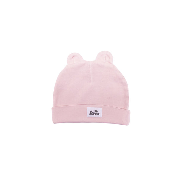 BABY HAT WITH EARS IN LIGHT PINK - sugarloaf