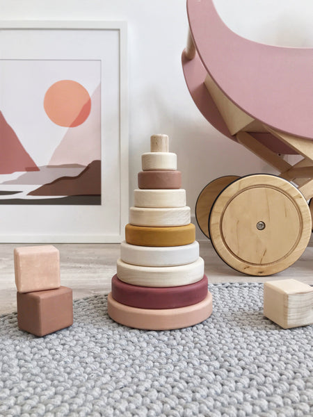 Sabo Concept Wooden Pyramid Stacker - Light Pink