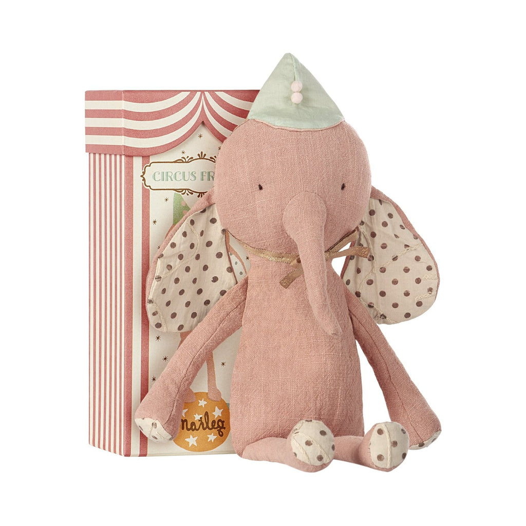 Maileg CIRCUS FRIENDS ELEPHANT WITH HAT IN ROSE