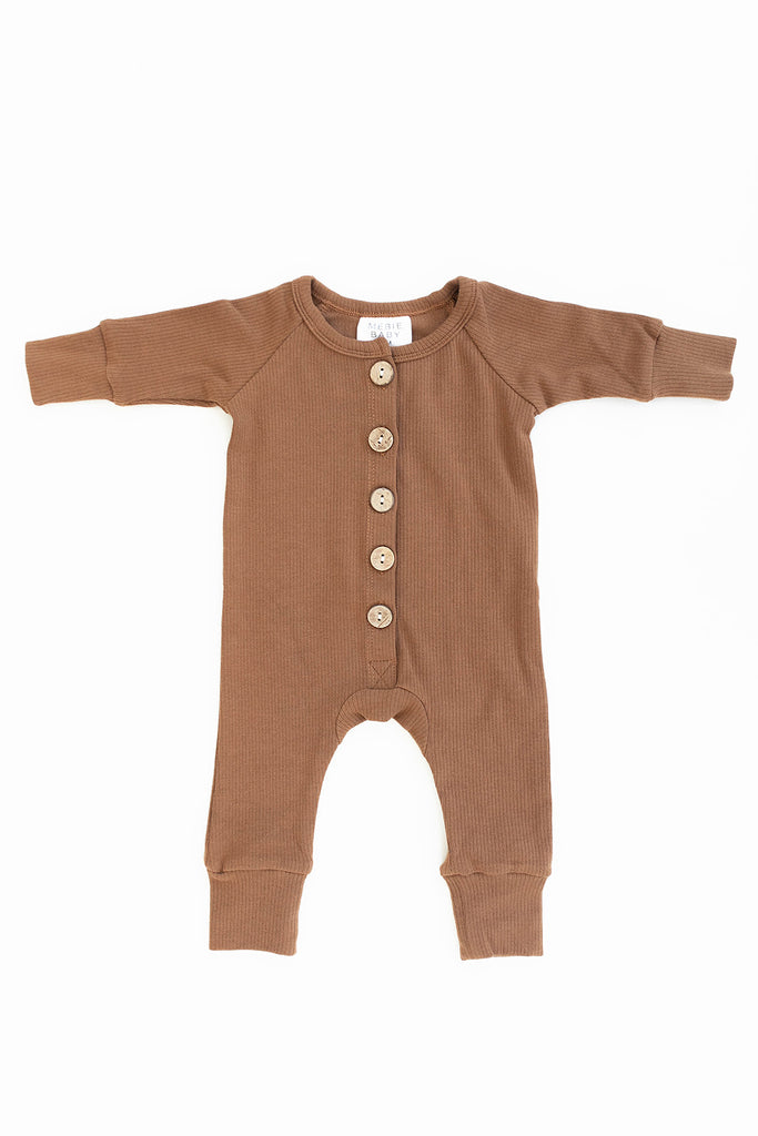 Mebie Baby Mebie Baby Honey Ribbed Long Sleeve Button Romper
