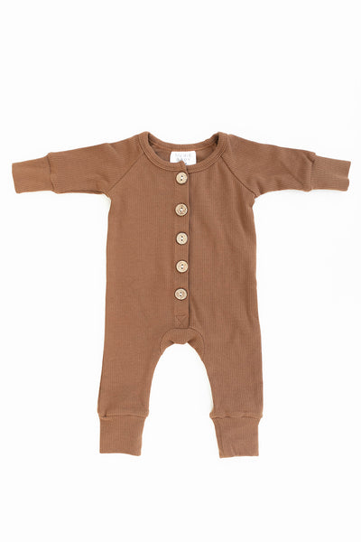 Mebie Baby Honey Ribbed Long Sleeve Button Romper