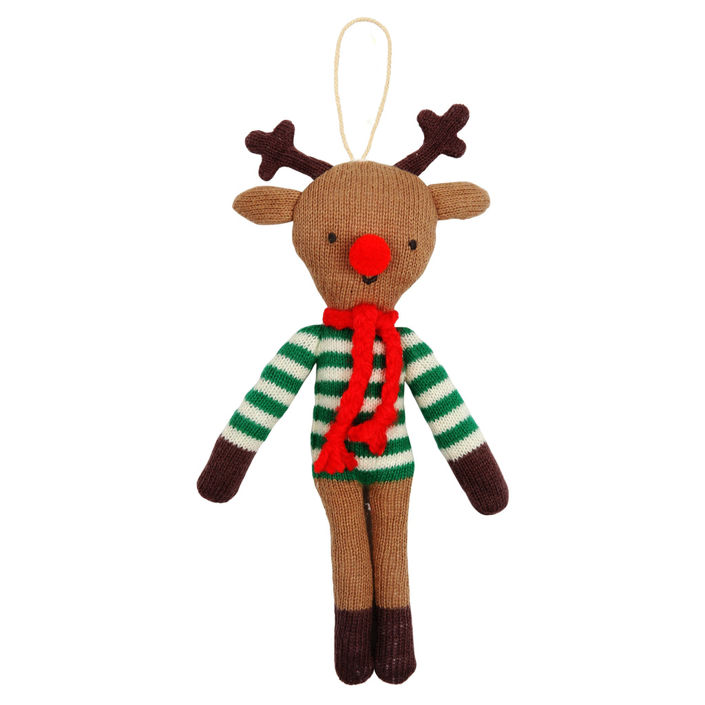 Meri Meri KNITTED REINDEER TREE DECORATION - sugarloaf